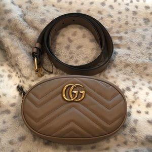 Gucci Marmont small matelasse belt bag beige